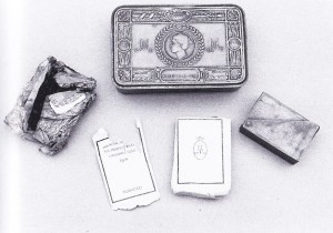 Williamson relics-matchbox, Mary's gift, tobacco