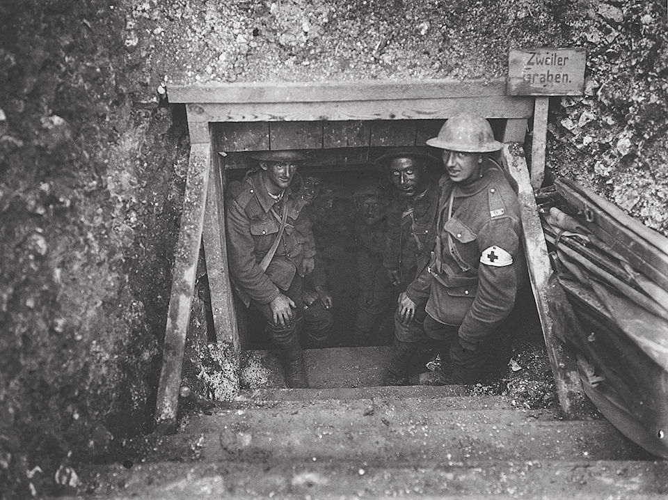 british-troops-at-an-entrance-to-a-german-dugout-in-dantzig-alley-fricourt-july-1916-from-somme-1916